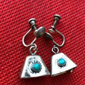 Jewelry - Sterling?silver Turquoise bell earrings screw back